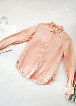Льняная рубашка премиум uniqlo персиковая 100% лён