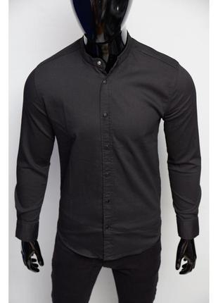 Рубашка мужская джинсовая figo 16003-1 стойка черная