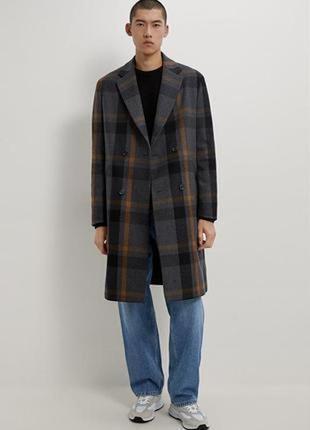 Zara новое мужское двубортное пальто из шерсти в клетку