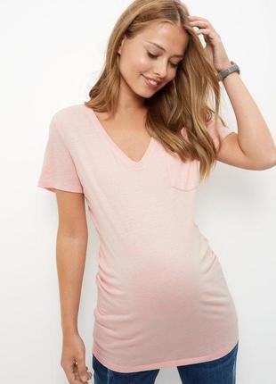 Персиковая футболка для беременных с v-образным вырезом new lo...