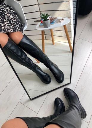 Lux обувь! шикарные зимние натуральные высокие сапоги на каблуке