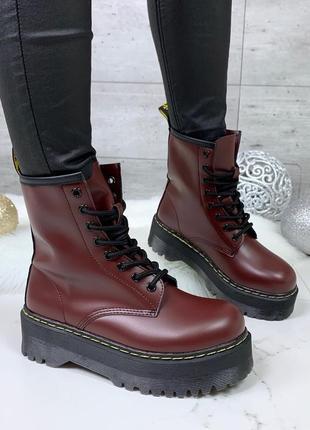 ❤ женские бордовые демисезонные осенние/весенние ботинки сапог...