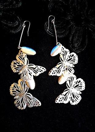 """Серьги подвески """"ажурные бабочки"""" под серебро ❄️длинные сережк..."""