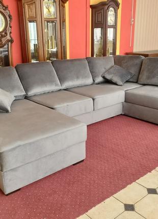 Новый угловой П-образный диван велюр раскладной диван