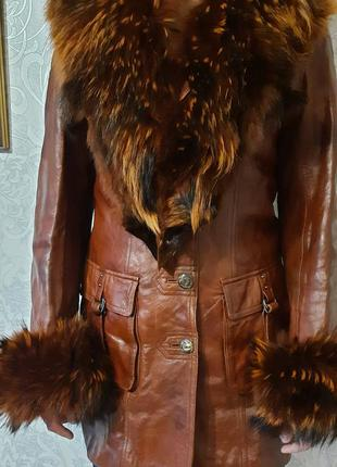 Натуральная кожаная утепленная куртка