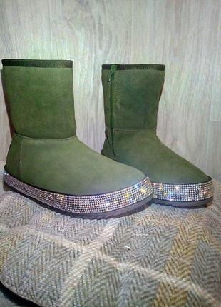 Угги хаки натурал замш камни ботинки зимние сапоги