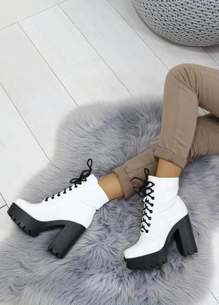 ❤ женские белые осенние деми ботинки сапоги полусапожки ботиль...