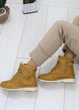 ❤ женские коричневые  зимние ботинки сапоги полусапожки ботиль...