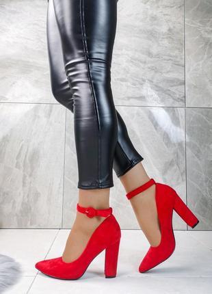 ❤ женские красные туфли на устойчивом каблуке ❤