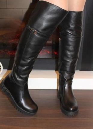 Кожаные зимние женские черные сапоги ботфорты низкий каблук на...