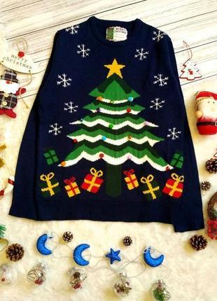 Новогодний рождественский поющий свитер с елкой с бубенцами ра...