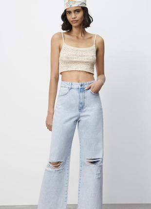 Широкие джинсы с дырками zara 36, 38