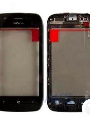Тачскрин (Сенсор) для Nokia 710 Lumia черный с рамкой (передне...