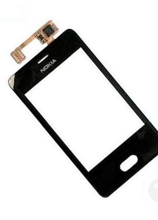 Тачскрин (Сенсор) для Nokia 501 Asha черный