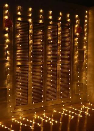 Гирлянда LED Штора 2х2 метра, синий, белый, теплый белый