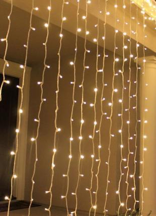 Гирлянда LED Штора 3х3 метра, синий, белый, теплый белый