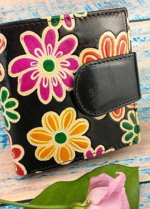 Женский кошелек из натуральной кожи. цветочный принт.