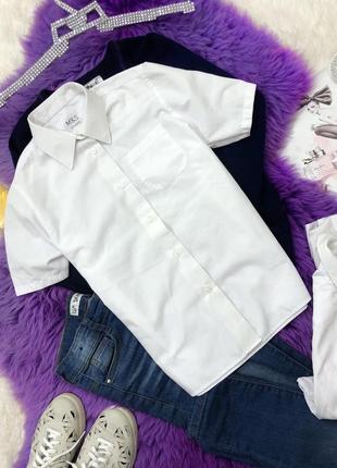 Белая рубашка стрейчевая на девочку 10-11 лет рост 146 см