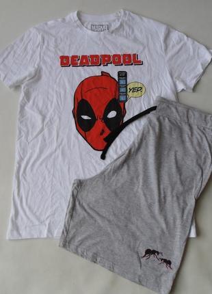 Домашний костюм пижама л футболка-шорты primark marvel