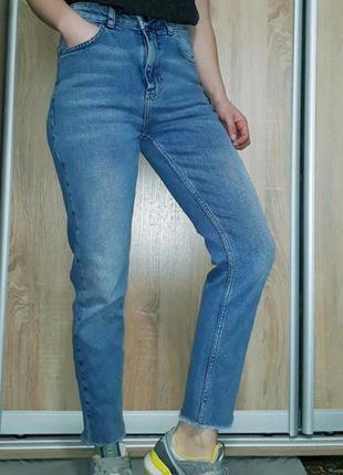 🔥 высокие джинсы мом с необработанным краем