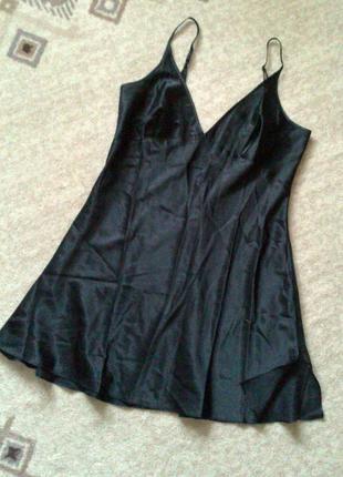 42-44р. чёрная атласная ночная рубашка
