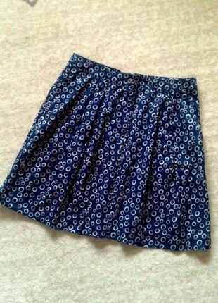 40р. синяя юбка в горошек