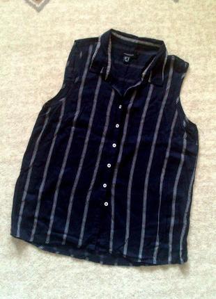 42р. синяя блузка-рубашка в полоску, вискоза