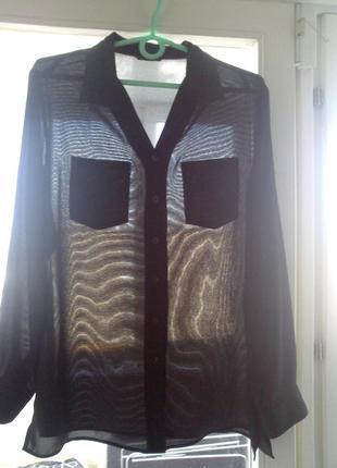 40-42р. черная шифоновая рубашка-блузка