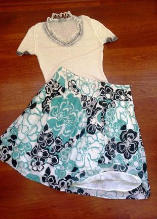 40-42р. лёгкая цветная юбка на кокетке, хлопок