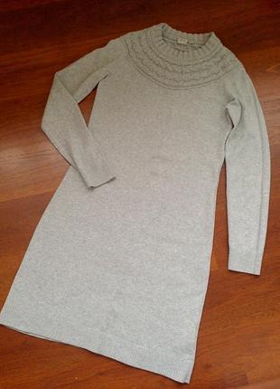 40-42р. серое трикотажное платье c вязаной кокеткой esprit