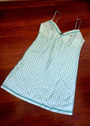 44-46р. нежно-бирюзовая атласная ночная рубашка lepel