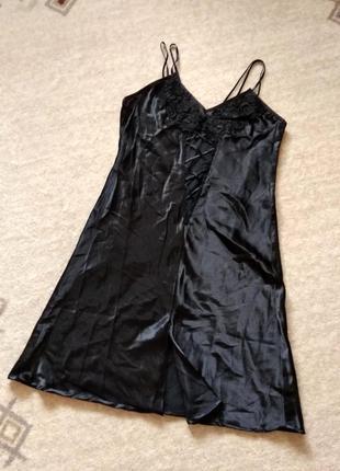 42р. атласная ночная рубашка с шитьём по лифу sorbet