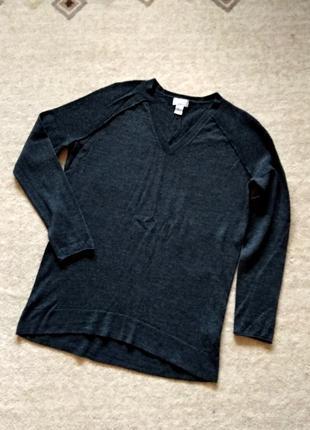 40-42р. шерстяной серый джемпер-кофта-свитр, меринос kenar