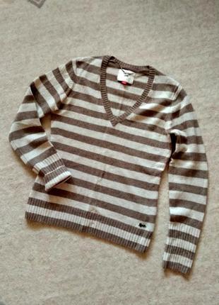 38-40р. шерстяной джемпер-кофта-свитр в полоску, меринос esprit