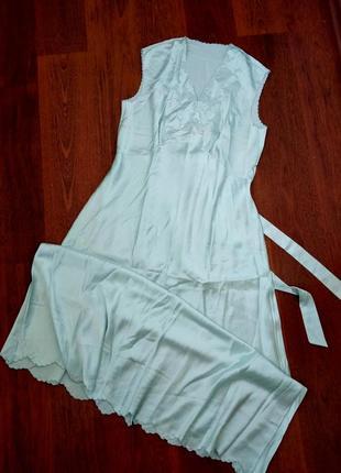 42-44р. шёлковая длинная ночная рубашка/сорочка, натуральный н...