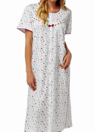 44-46р. длинная цветочная ночная рубашка-сорочка, хлопок трико...