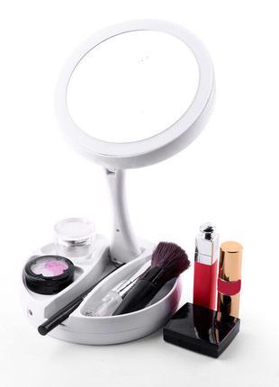 Зеркало косметическое настольное с подсветкой для макияжа, Нас...