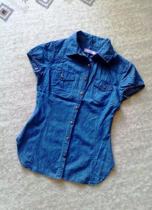 36р. джинсовая рубашка с коротким рукавом sfera