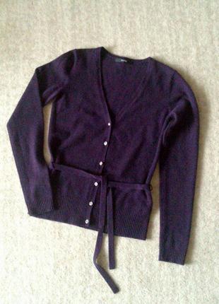 34р. кашемировый пурпурный кардиган-кофта с поясом littlewoods