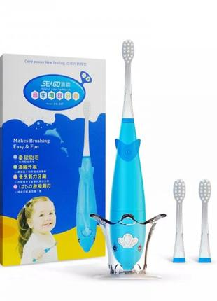 Детская электрическая зубная щетка звуковая Seago SG921 музыка...