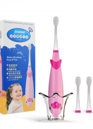 Электрическая зубная щетка детская звуковая музыкальная с LED ...