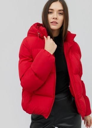 Куртка зимняя пуховик красная дутая стеганая cardo