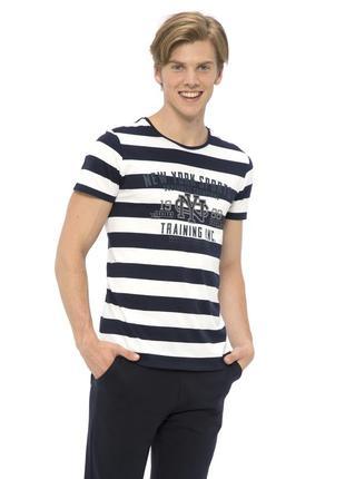 Белая мужская футболка lc waikiki / лс вайкики в синюю полоску...