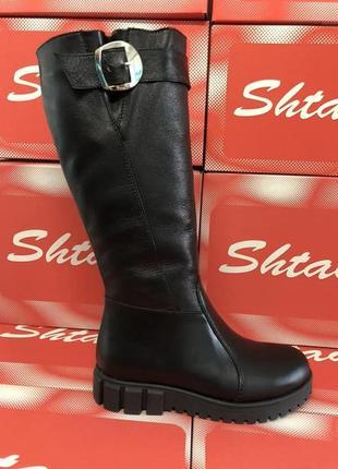 Кожаные зимние женские черные сапоги на низком ходу натуральна...