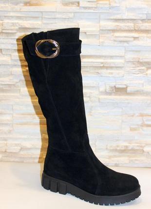 Замшевые зимние женские черные сапоги на низком ходу натуральн...