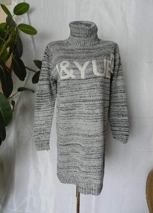 ✅вязаный свитер туника платье с горловиной размер оверсайз 44-56