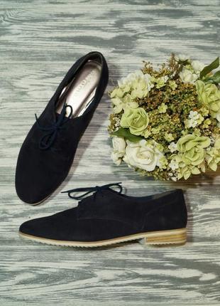 🌿39🌿tamaris. замша. стильные туфли на шнуровке, оксфорды