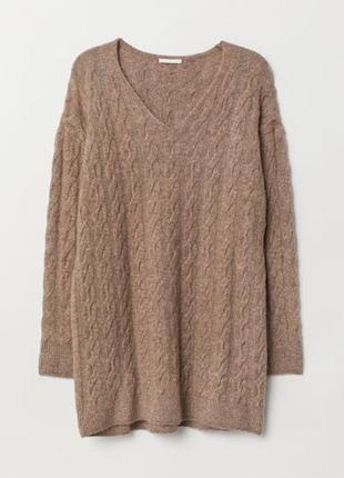 Oversize платье-туника  вязки косами из мягкой пряжи с добавле...