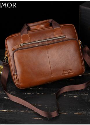 Мужская сумка-мессенджер FONMOR  из натуральной воловьей кожи.