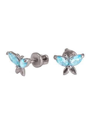 Серьги-пуссеты из серебра с покрытием из родия«маленькая бабоч...